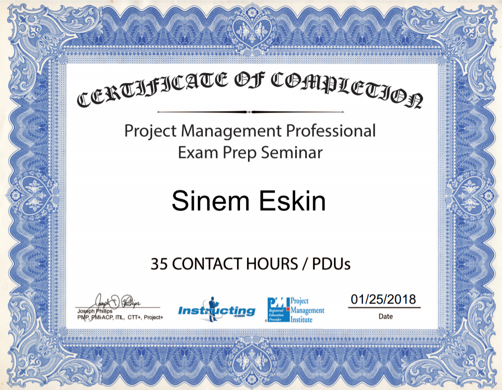 PMP Training Certificate