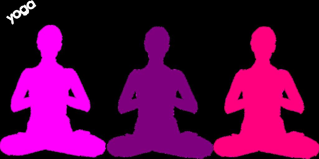 Staying at home - do yoga. 3 people doing yoga.